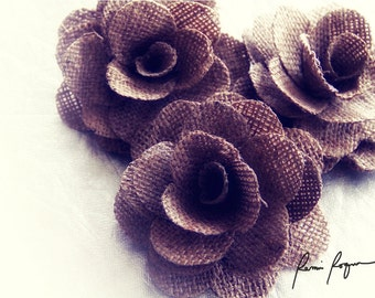 Two Dozens Large Rustic Eco-friendly Rose Made of Burlap