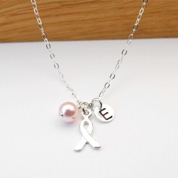 Breast Cancer Necklace Custom Initial Breast Cancer Awareness Necklace Breast Cancer Jewelry, Personalized Necklace, STERLING SILVER.