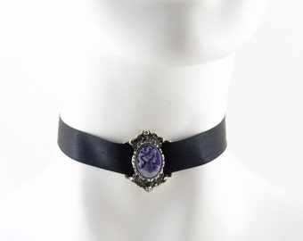 Black Satin Choker with Purple Cameo Victorian Lady set in Pewter Buckle Frame - Lolita, Jewelry, Gothic, Steampunk, Necklace, Chocker