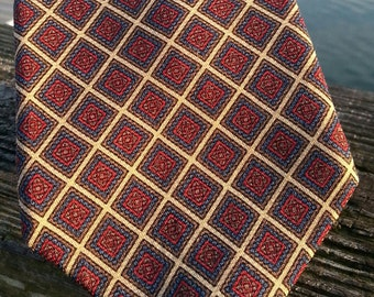 vintage checkered red and navy wool necktie, hathaway brand, made in USA, hipster tie, vintage preppy tie