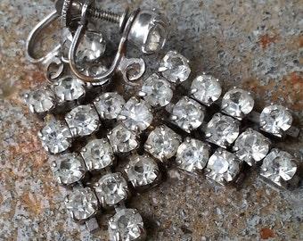 vintage glam rhinestone silver earrings, screwbacks/clip-ons, wedding earrings, prom earrings, romantic jewelry