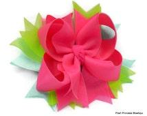 Neon Hair Bows Hot Pink Hair Bow Childrens Hair Bows Hair Clip Headband - Aqua, Neon Hot Pink, Lime Green