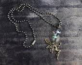 Fairy Necklace Antiqued Brass with Faceted Glass Beads