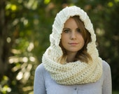 Hooded Scarf, Cream Crochet Hood Scoodie, Off White, Ecru Scarf