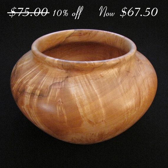 Maple wood vase, vessel, honey pot shape with large mouth, wood turning, lustrous cream and brown colors, hollow form