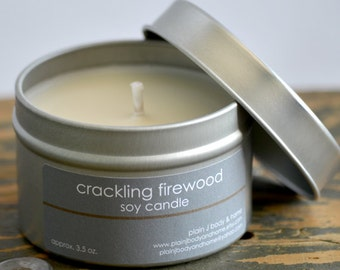 Crackling Firewood Soy Candle Tin 4 oz. - firewood soy candle - campfire soy candle - fall soy candle - winter soy candle - holiday candle