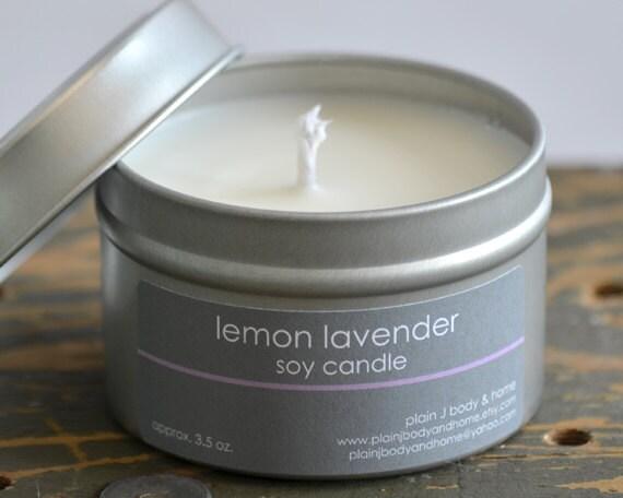 Lemon Lavender Soy Candle Tin 4 oz. - lemon candle - lavender candle - lemon lavender - fresh scent candle - womens candle