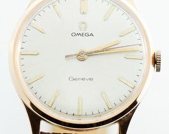 Vintage Omega Geneve 18K Rose Gold Watch with Leather Strap