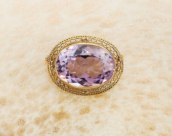 Antique 14K Yellow Gold and Amethyst Brooch