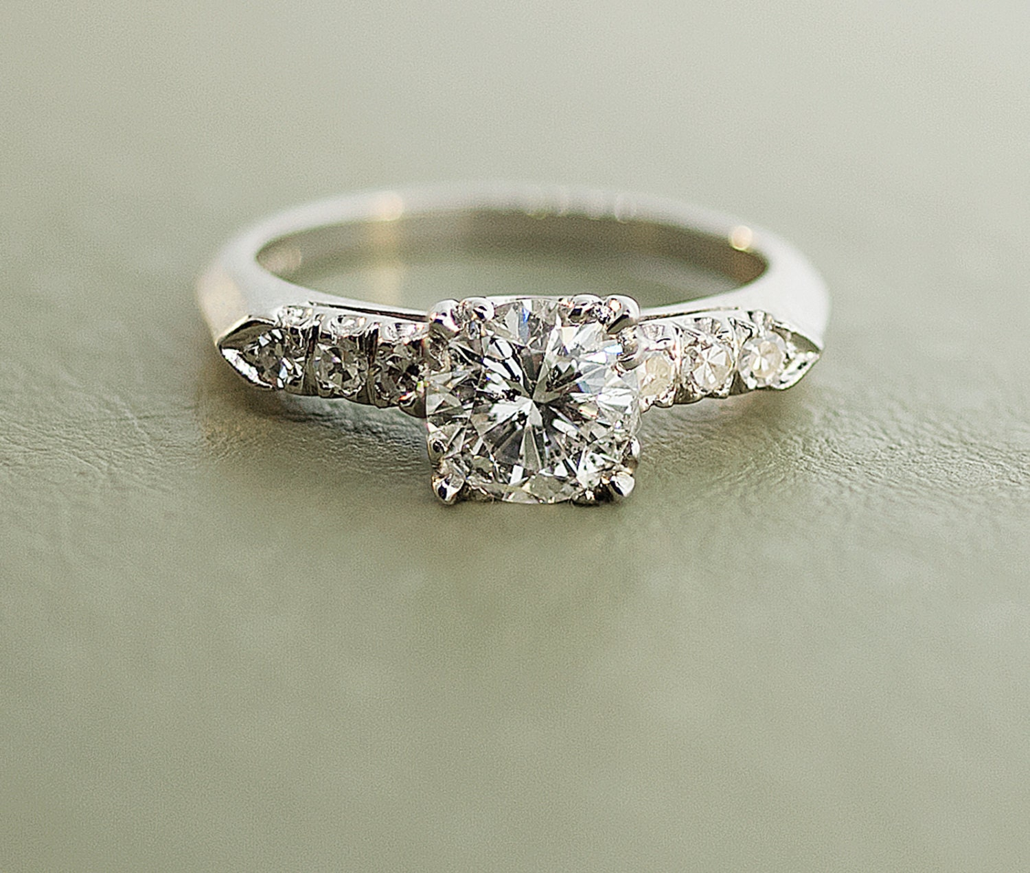 Vintage Platinum Diamond Engagement Ring by TheCopperCanary