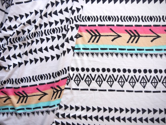 Tribal Pattern Fabric, Geometric, Aztec Print, White Stretchy Cotton, 39 in x 60 in