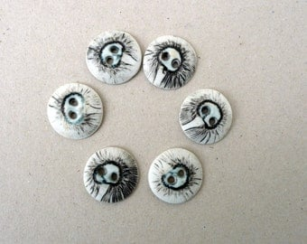 Black White Porcelain buttons. Blue Black White Ceramic buttons,Flower fashion Accessories