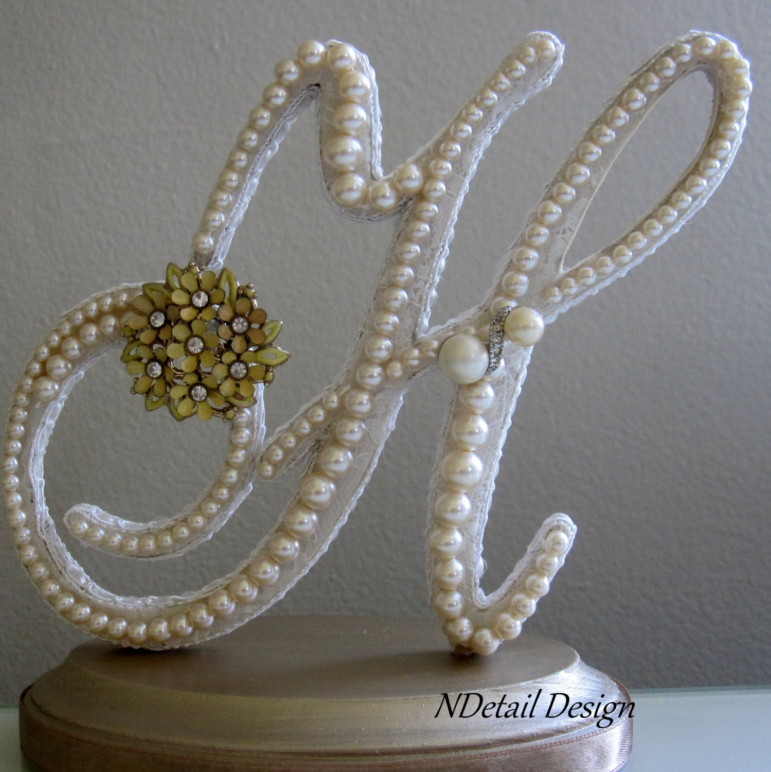Pin Monogrammed Custom Vintage Pearl Wedding Cake Topper