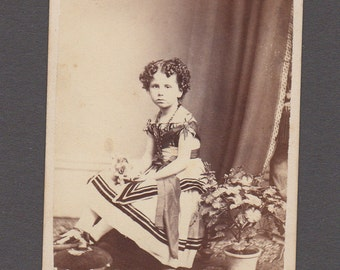 CDV of a Pouty Little Girl with Flowers ~ Beautiful Clothing
