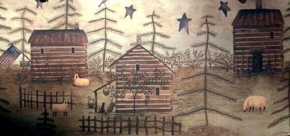 Rustic Log Cabin Picture Plaque - Ready To Hang - Art Adhered To Wood - Handmade in the USA