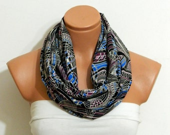 leaf pattern scarf,Gift scarf Infinity Scarf,Black and  Purple scarf,Loop Scarf,Circle Scarf,.Ultra soft..Nomad Tube...