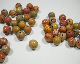 Brown Tan Red Desert Jasper Smooth Round Ball Beads 7mm - 8mm