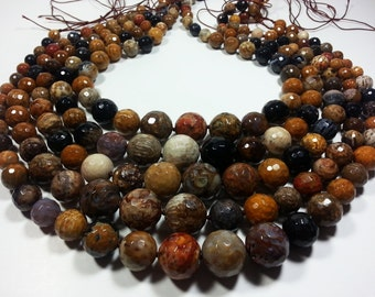 Multicolor Jasper Faceted Round Beads Graduating Whole Strand 8mm to 16mm