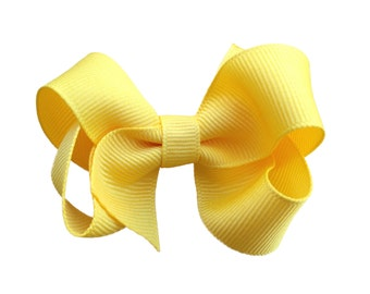 3 inch Yellow hair bow - yellow bows, girls hair bows, girls bows, toddler hair bows, baby hair bows, boutique hair bows, hair bows, hairbow