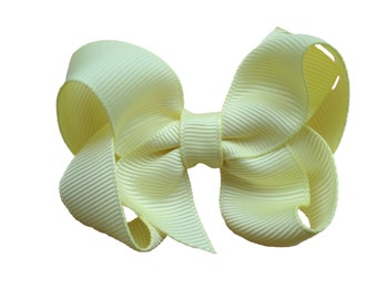 Light yellow hair bow - light yellow bow, toddler bow, baby bow, girls hair bows, yellow hair bows, yellow bows, girls bows , hair clips