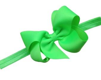 Lime green bow headband - lime green baby headband - baby headband, newborn headband, baby girl headband, green headband