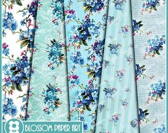 Digital Paper, Blue Flowers Digital Paper Pack, Digital Scrapbooking Pack, Decoupage, Printable - DIY - 1622
