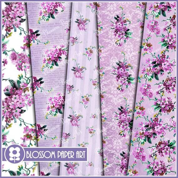Papeles decorativos en violeta floreados papel digital para - Papeles decorativos para imprimir ...