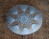 Crocheted Lace Stone, Blue Lace Stone, Handmade, Blue Thread Crochet, Star, Fans, Tiny Stitches, Unique Gift,