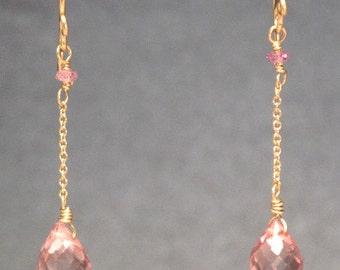 Pale pink quartz drop chain earrings Venus 171