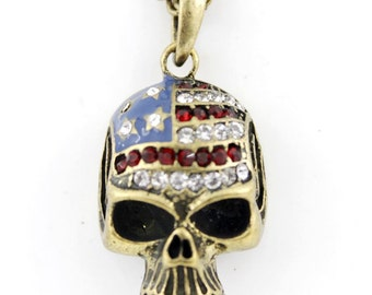 Vintage Feel Gold-tone Skull Pendant Necklace