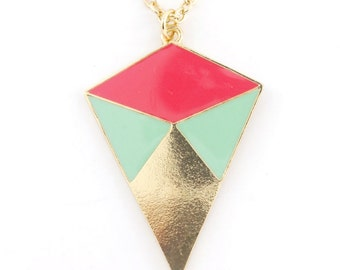 Simple Gold-tone Colorful Pink/Green Funky Statement Necklace B3