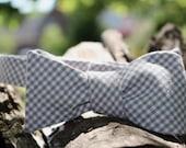 Tan-Grey Gingham Self Tie Adjustable Bow Tie