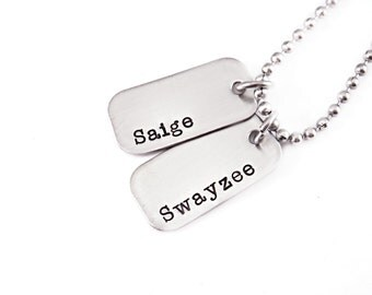 Personalized Dog Tag Name Necklace - Daddy Necklace - Engraved - Gift for Dad - Father's Day - Personalized Jewelry - Dad Dog Tags - 1250