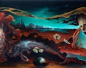Limited signed Print from painting - Woman Grappling with the Curse of Intelligence - Chad Hoberer