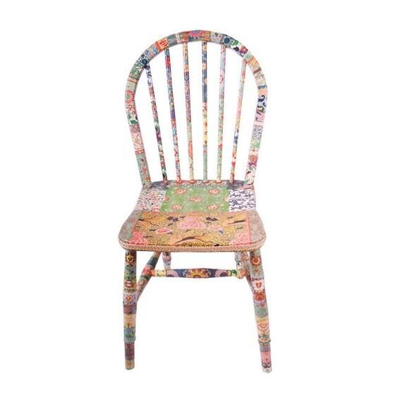 """unique wooden chair decoupage """"Flora"""""""
