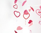 Heart mobile Valentine's day - home decoration - paper mobile - nursery decor