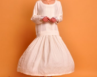 cotton dress linen dress linen maxi dress maxi dress white beige dress linen dress cotton dress classic dress retro dress