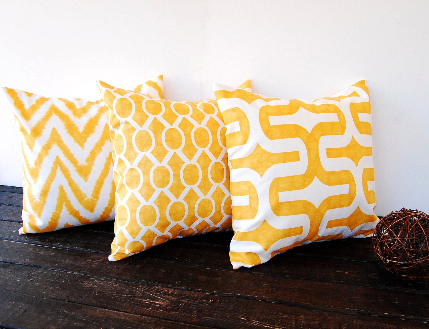 Throw pillows yellow set of three 20 x 20 by ThePillowPeople