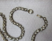 Vintage Rhinestone Necklace, Clear, Sparkle, Elegant, Wedding, Graduation - Free Shipping