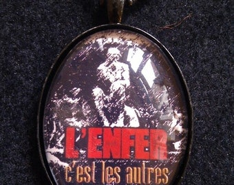 "Bookish necklace: ""Hell is other people"" by Sartre. ""L'enfer, c'est les autres"""