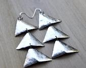 Triangle Art Deco Dangle Earrings GOLD OR SILVER
