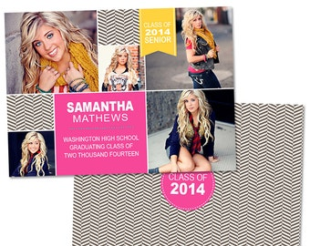 Senior Graduation Announcement Card Template for Photographers Photoshop Templates for Photographers Photo Card Template - GD108
