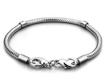 Double Sided Lobster Claw Clasp, Snake Style Bracelet for Large Hole European Beads, Silver Plated Bracelet for Big Hole Euro Beads