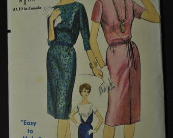 Vogue 5241 Misses One Piece Dress Uncut Size 14 Bust 34 Hip 36 Vintage 1960s Sewing Pattern Easy to Make
