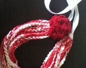 Free Shipping: Red White & Pink Crocheted Rose Ribbon Necklace