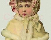 Digital Download Beautiful Edwardian Winter Girl Die Cut Scrap Graphic Image