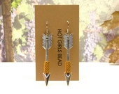 Handmade GOLD and Silver Angel Arrow Peyote Earrings, Jewelry Gift