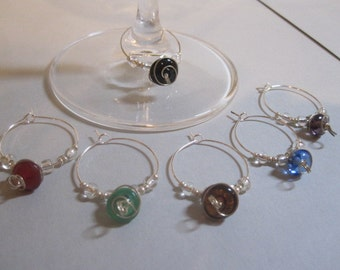 Wire-wrapped Glass Bead Wine Charms