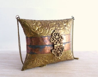 Vintage Decorative Brass and Copper Pillow Purse with Velvet Interior