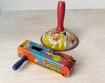 Vintage New Years Eve and Clown Toy Noisemakers - Tin Lithograph Toys - US Metal Toy Mfg